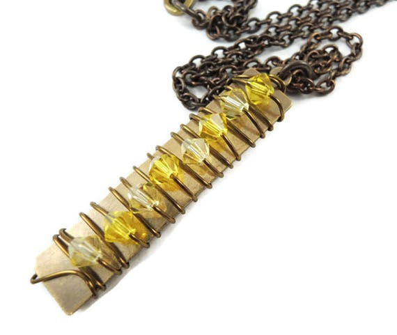 SALE Crystal Pillar Necklace in Yellows, Wire Wrapped polished brass rectangle