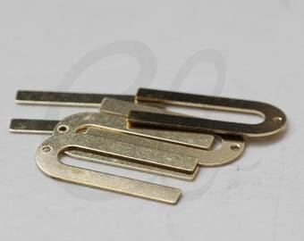 20 Pieces Raw Brass Half Circle - U - Charm 12x26mm (3819C-J-339)
