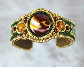 Bracelet, Beaded, Bead Embroidered, Moukaite, amber glass, Cuff
