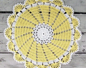 Lovely Crocheted Yellow White Doily Table Topper - 10 1/2 inches