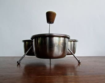 Scandinavian Mid Century Modern Stainless Trio Chutney Cradle, Modern Condiment Caddy, Stainless Steel & Hickory