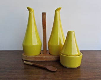 JIE Gantofta Sweden Modern Design Yellow Cruet Set, Mid Century Scandinavian Ceramic Design
