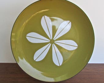 "Cathrineholm Lotus Butterscotch Enamelware Large 12"" Plate, Designed by Arne Clausen"
