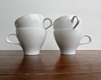 Thomas, Rosenthal Porcelain, 4 Avaiilable, Thomas of Germany Porcelain Tea Cups, German Mid Century Modern Scandinavian Influenced Design