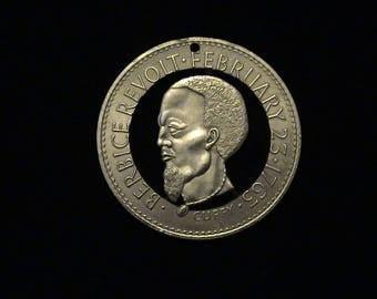 GUYANA - cut coin pendant - w/ Cuffy, African Slave Revolt Leader - 1970