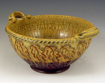 Ash Glaze/Red Glaze Carved Oak Leaf Colander, Hand-Thrown, Stoneware