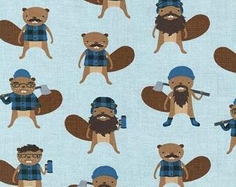 One half (0.5) Yard - Burly Beavers Lumberjack Bevers on Blue Robert Kaufman Fabric AHE-15992-67 Denim