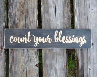 count your blessings sign,count your blessings,home decor,wood sign,blessings sign,blessings,rustic,wall decor,rustic sign,rustic decor,sign