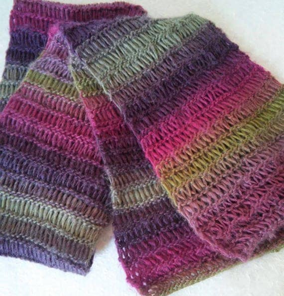 Knitting Pattern For Murrisk Scarf Long Openweave Multicolor Scarf