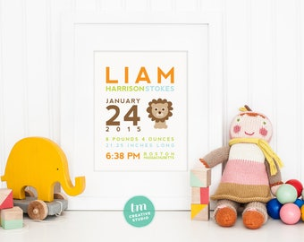 Custom Birth Announcement Print // LION Wall Art  // Nursery Print // Modern Birth Stat Poster // Baby Boy // Jungle Theme