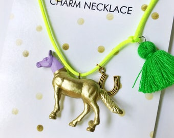 Horse Necklace. Kids Horse Necklace. Kid Necklace. Girls Necklace. Kids Jewelry. Horse Lover Gift. Horse Jewelry. Kids Tassel. Girl Jewelry