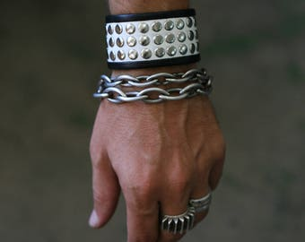 HIGH CONTRAST Black and White Punk Rock Leather Studded Cuff