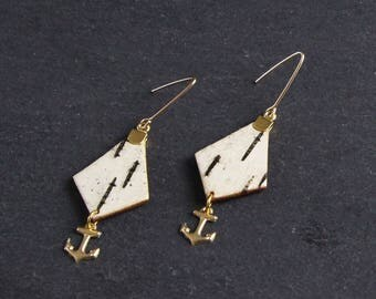 Birch bark and gold anchor charm earrings, Anchored