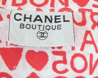 Logo Blouse, Famous French Couture Designer / Vintage 1990's / Red on White Silk