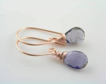 Iolite Rose Gold Earrings, Wire Wrapped Iolite Earrings, Water Sapphire Earrings, Rose Gold Jewelry