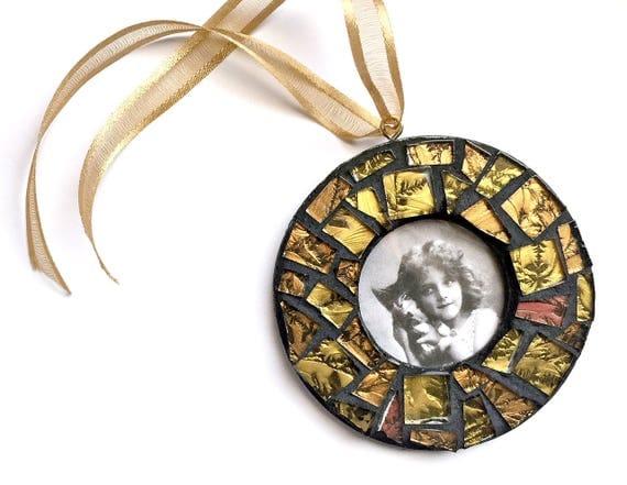 Mosaic Frame Ornament, Black Gold Mosaic Frame Ornament, Mosaic Frame Ornament, Mosaic Photo Frame Ornament, Mosaic Frame, Hanging Frame