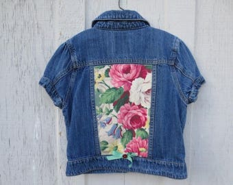 Upcycled Girl's Denim Jacket Blue Jean Back to School School Wear Country Western Play Clothes Shabby Cottage Chic Vintage Barkcloth