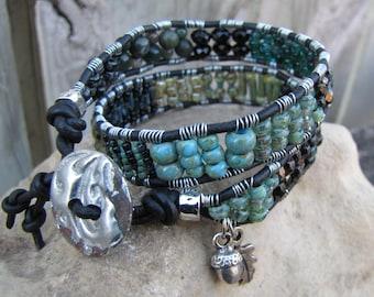 Earthy double wrap Bracelet, Beaded leather bracelet,Black,aqua,green bracelet,beaded leather wrap,boho bracelet