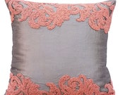 "Silver Grey Pillow Sham Covers, 24""x24"" Silk Pillowcase, Floral Pillow Sham Cover, Square Beads Embroidered Pillows Cover - Peach Waters"