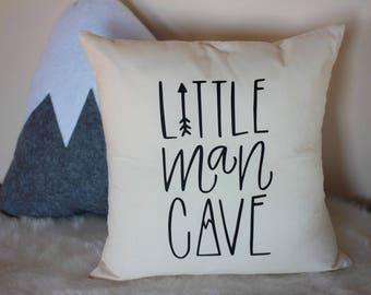 Little Man Cave, Nursery Pillow, Mountain, Arrow, Adventure, Explore, Forest Theme, Hand drawn, 16 x16, Trees, Handwritten