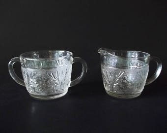 Anchor Hocking Sandwich Creamer & Open Sugar Bowl, Clear Glass Cream Pitcher and Bowl Set, USA 1940s-1960s