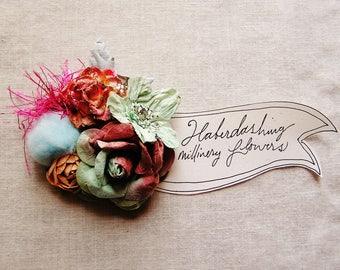 Aqua Berry ombre glittered pink Sky Blue velvet puffball Garden Roses Handmade millinery flower corsage hair bow supply