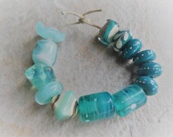 Destash Sale Lampwork Beads, Handmade Glass Beads, Orphan Beads, Singles, Teal