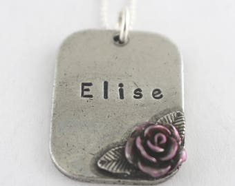 Rose Necklace - Dog Tag Necklace - Dogtag Necklace - Name Necklace - Personalized Necklace - Custom Necklace - Flower Necklace