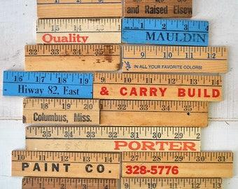 18 vintage advertising yard sticks / wooden yard sticks / measuring sticks / collage / mixed media / frames