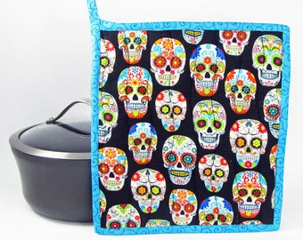 Sugar Skulls/Day of the Dead, fabric potholder, quilted potholder, cooking potholder, hotpad, handmade potholder, insulated potholder