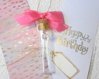 Birthday Sentiment in a Bottle, message in a bottle, birthday in a bottle, birthday card, birthday for her, decorated bottle with hanger