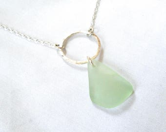Genuine Soft green Sea Glass Floating Circle  Necklace on Sterling Silver