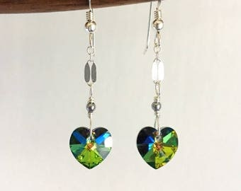 Swarovski Hearts. Crystal Hearts. Sterling Silver Earrings.