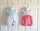 "Boys or Girls ""Taylor"" Bubble Romper Summer Shortalls Sunsuit Swimsuit in YOUR CHOICE of fabric - sizes 0 mos to 3T"