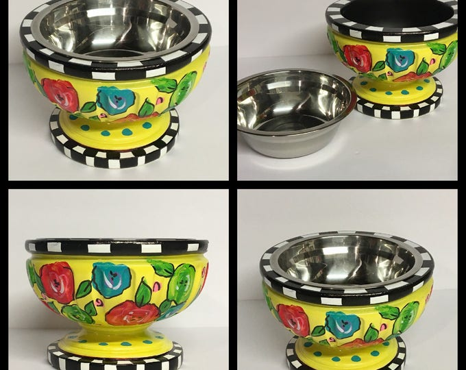 Pet feeder, dog bowl, cat bowl, whimsical painted pet bowl, pedestal bowl