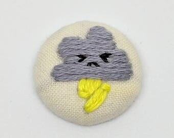Kawaii Storm Cloud Buddy Button Embroidery Angry Cute Face Lightning Friend