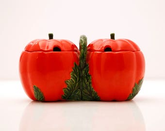 Vintage Pumpkin or Tomato Double Side Condiment Server