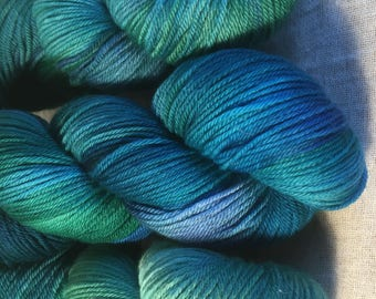 Blue and Green Hand Dyed 8ply DK Merino Wool