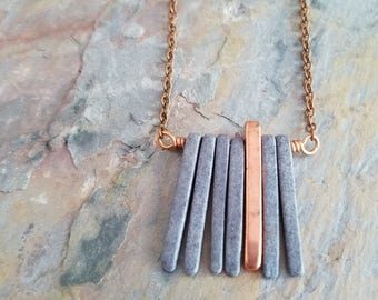 Gray and Copper Spikes Necklace, Modern Ceramic Necklace, Metallic Grey