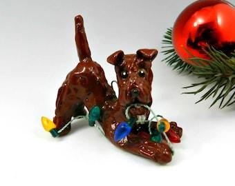 Irish Terrier Christmas Ornament Figurine Lights OOAK Porcelain
