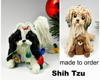 Shih Tzu Dog PORCELAIN Christmas Ornament Figurine Made to Order