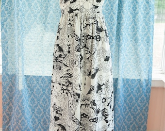 Vintage Gown - Maxi Mod Groovy Black and White