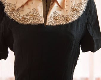 Vintage Dress - 1940s Black Beading Beth Paige Original