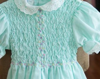 Vintage Girl's Dress -Blue Aqua Eyelet Smocked Floral Polly Flinders