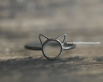 Hand Oxidized Small Cat Ring - Patina Solid 925 Sterling Silver - Insurance Included