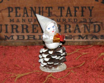 Vintage White Spun Cotton Pine cone Gnome or Pixie Elf with Chenille Trim