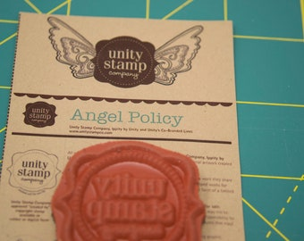 Angel policy stamp, Unity Stamp Company, Unity logo stamp, unmounted rubber stamp, new stamp, destash rubber stamps
