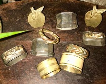 Vintage mixed metal 10 napkin ring lot 90's 80's brass silver copper 1990's 1980's dinner party napkin rings