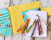Crayon Wallet. Crayon Roll. Crayon Holder. Quiet Book. Travel Toys. Crayon Tote. Art Wallet. Drawing Kit. Gift for Kids. Coloring Wallet.