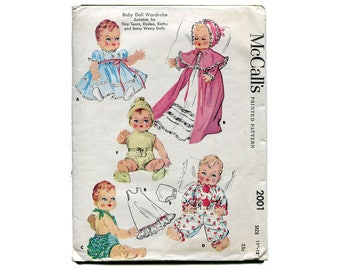 """1950s Baby Doll Clothes Pattern Wardrobe 11"""" to 12"""" Dolls Ruffle Bum Sunsuit Christening Dress Sleeper McCalls 2001 Vintage Sewing Pattern"""